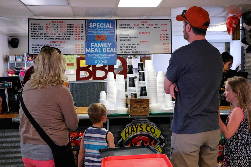 Photo of customers ordering at Hays County Bar-B-Que