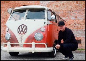Photo of artist Bubba Flint and his VW van
