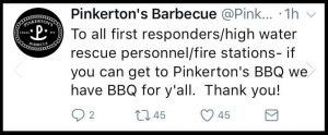 Facebook posting by Pinkertons's Barbecue.
