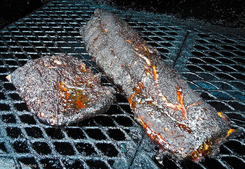 Smoking pork ribs