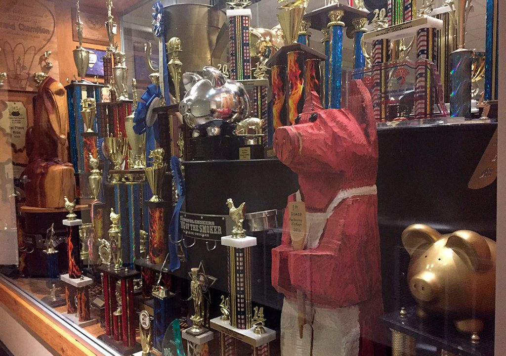 Smokey D's in Des Moines, Iowa trophies