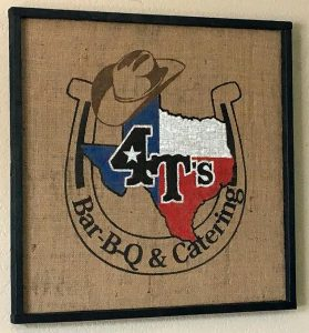 Photo of sign at 4-T's Bar-B-Q & Catering