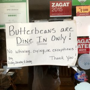 Sign at Opie's BBQ in Spicewood