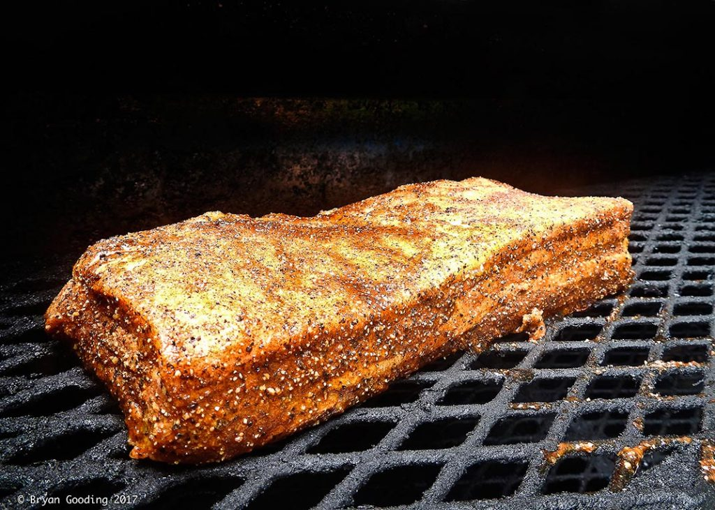 Photo of apple smoked pork belly recipe.